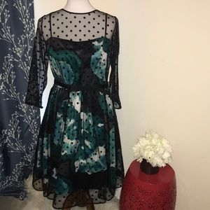 Eliza J illusion Polka Dot Overlay Floral Dress